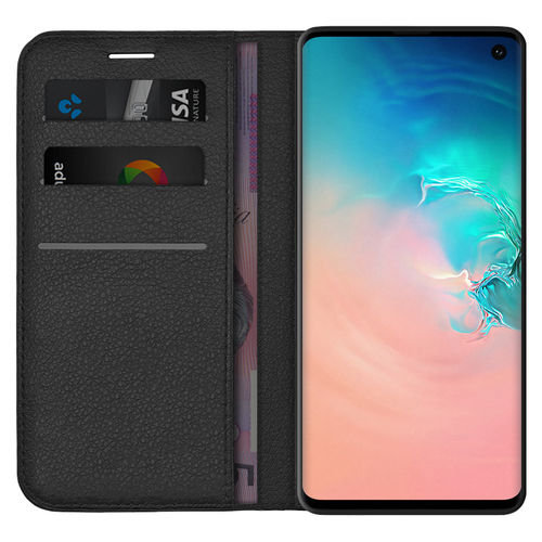 Leather Wallet Case & Card Holder Pouch for Samsung Galaxy S10 - Black